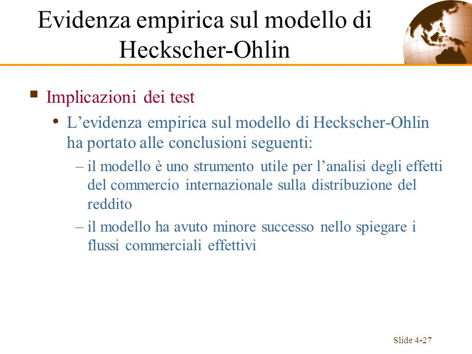 Evidenza empirica sul modello di Heckscher-Ohlin