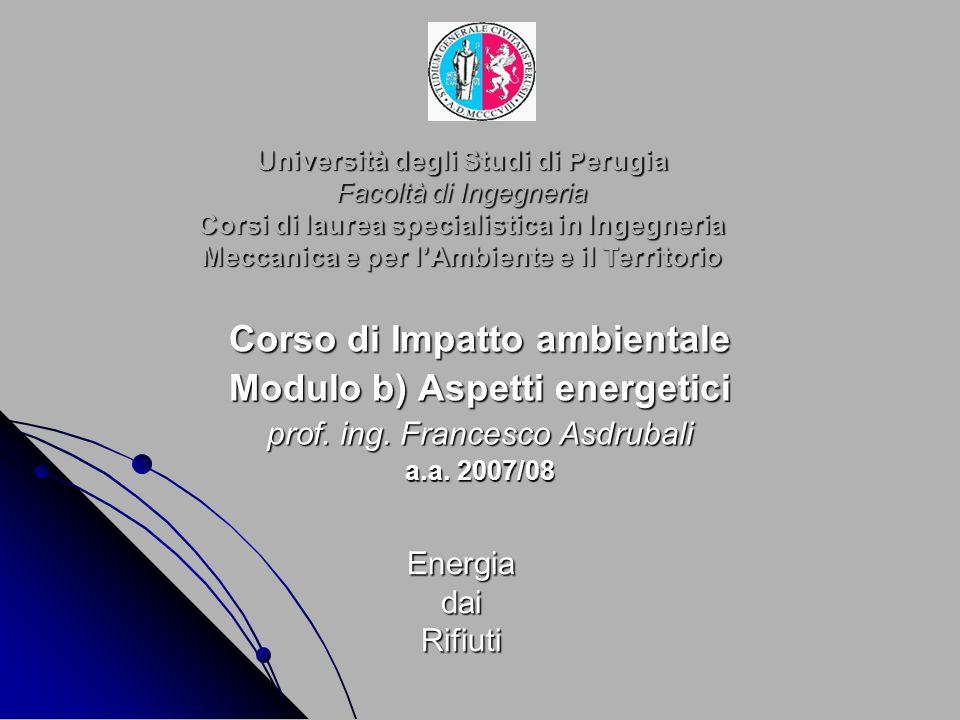 Corso di Impatto ambientale Modulo b) Aspetti energetici
