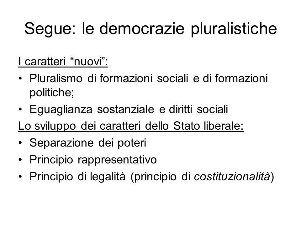Segue: le democrazie pluralistiche