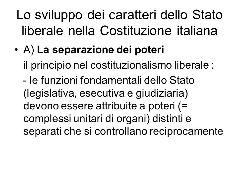 Lo sviluppo dei caratteri dello Stato liberale nella Costituzione italiana