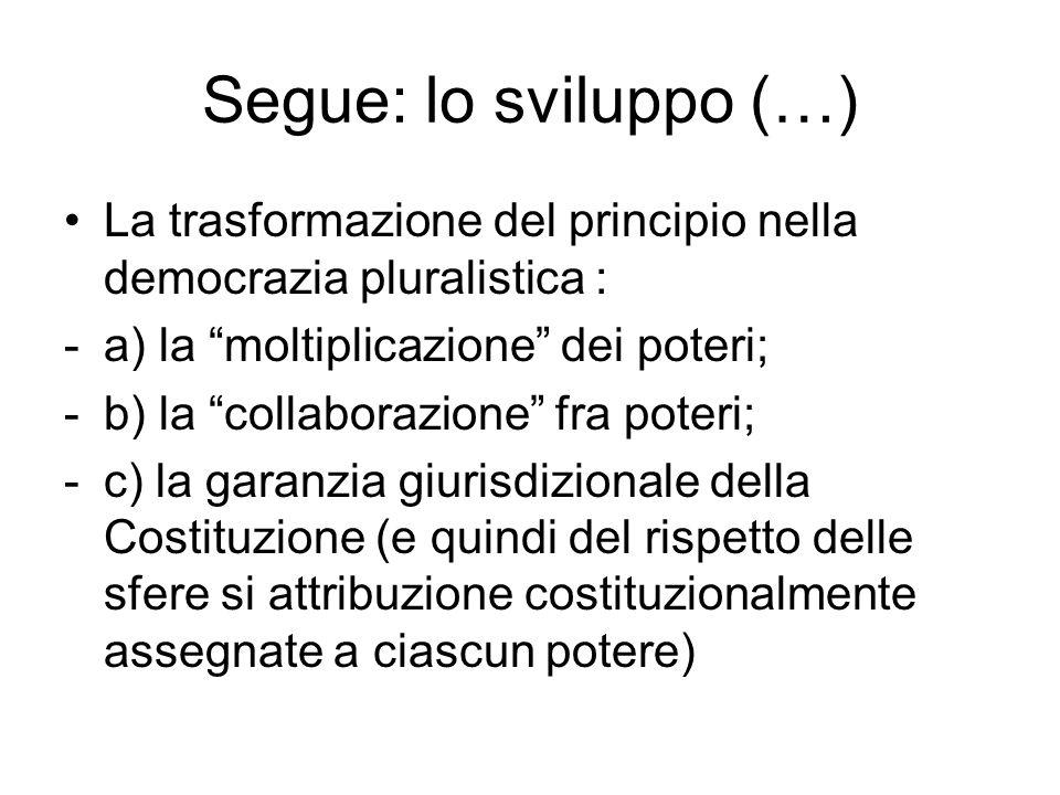 Segue: lo sviluppo (…) La trasformazione del principio nella democrazia pluralistica : a) la moltiplicazione dei poteri;