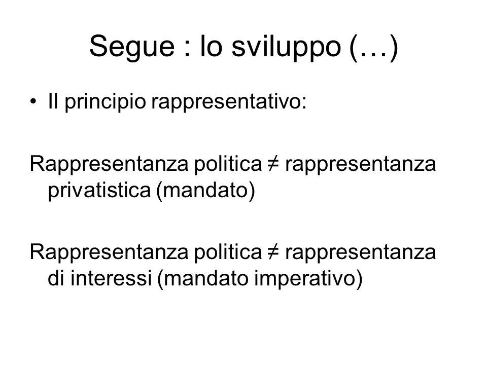 Segue : lo sviluppo (…) Il principio rappresentativo: