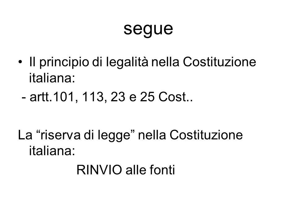 segue Il principio di legalità nella Costituzione italiana: