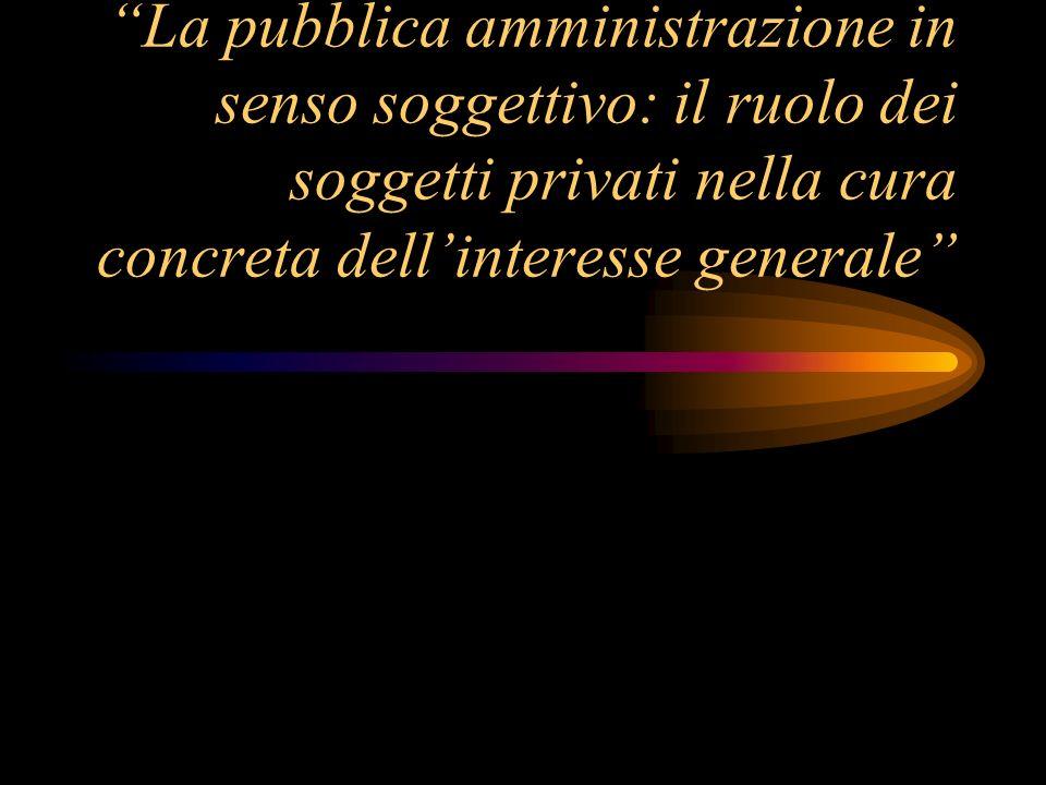 La pubblica amministrazione in senso soggettivo: il ruolo dei soggetti privati nella cura concreta dell'interesse generale