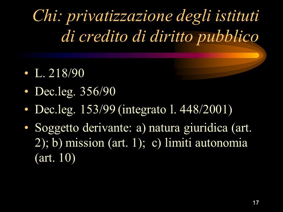 Chi: privatizzazione degli istituti di credito di diritto pubblico