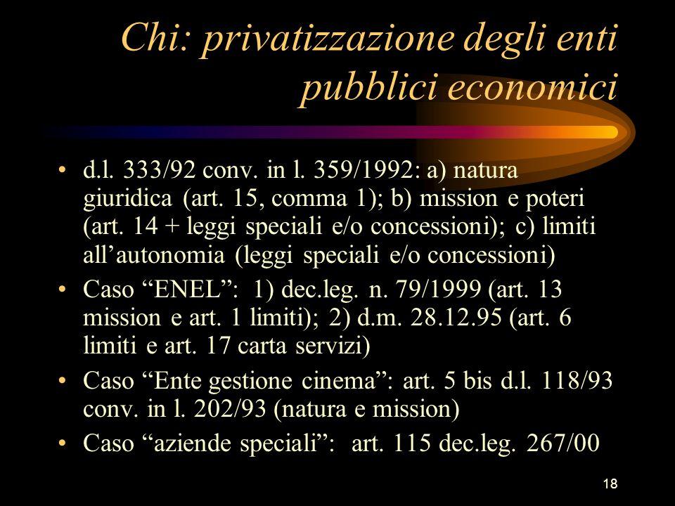 Chi: privatizzazione degli enti pubblici economici