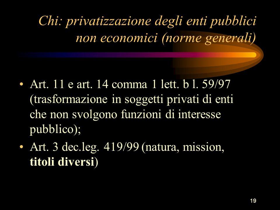 Chi: privatizzazione degli enti pubblici non economici (norme generali)