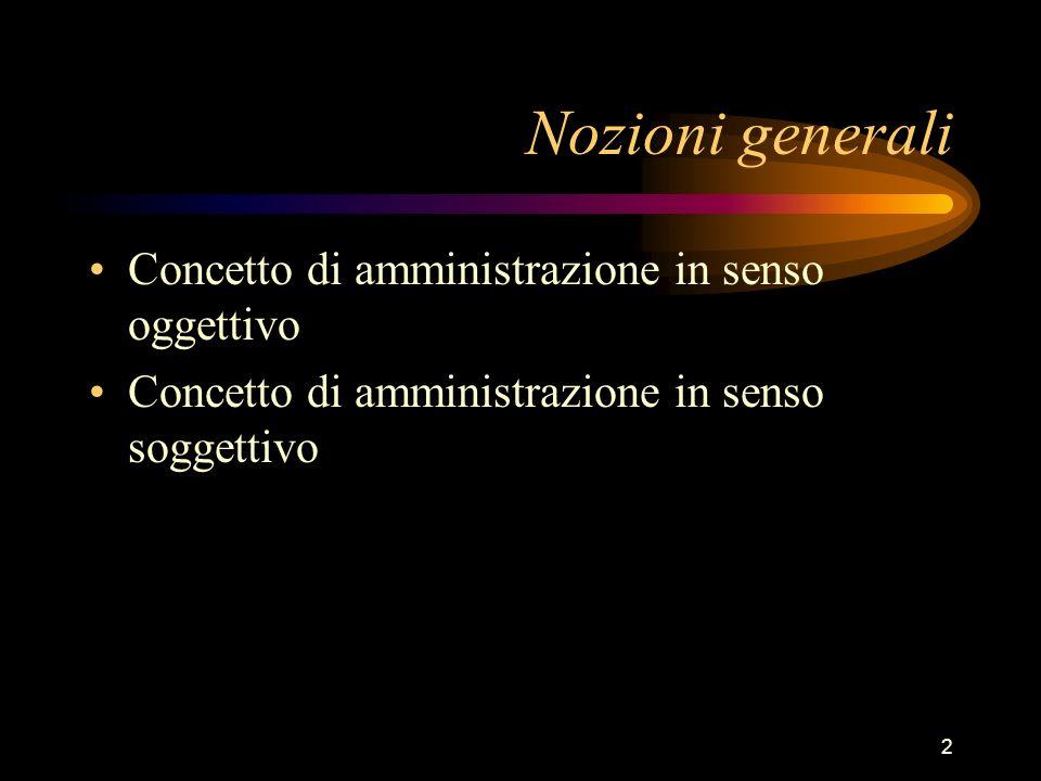 Nozioni generali Concetto di amministrazione in senso oggettivo