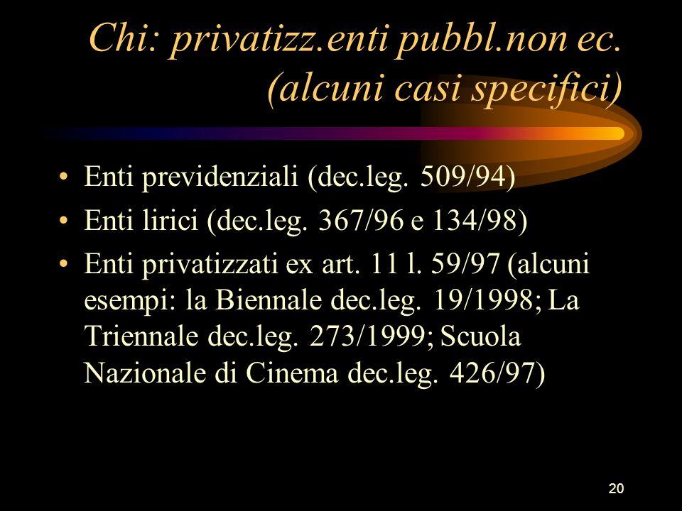 Chi: privatizz.enti pubbl.non ec. (alcuni casi specifici)