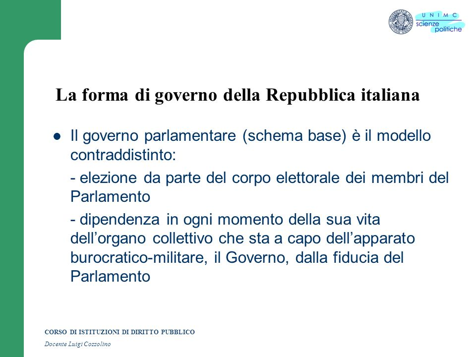 La forma di governo della Repubblica italiana