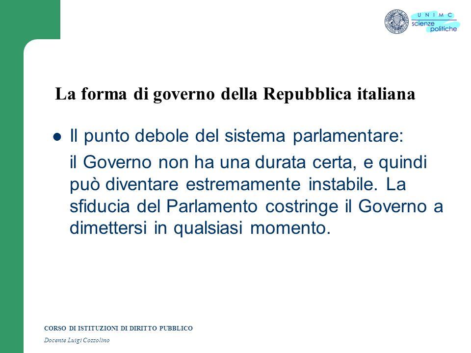 Argomento n 4 la forma di governo della repubblica for Repubblica parlamentare italiana
