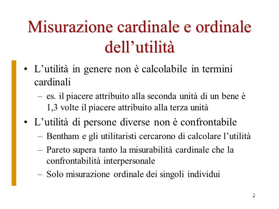 Misurazione cardinale e ordinale dell'utilità