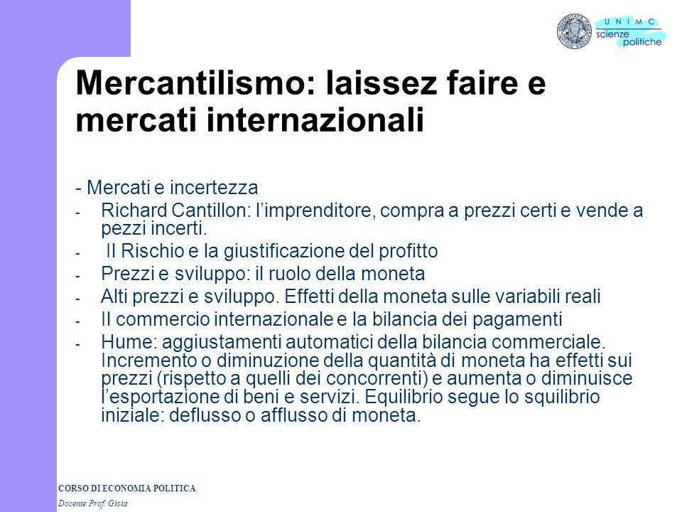 Mercantilismo: laissez faire e mercati internazionali