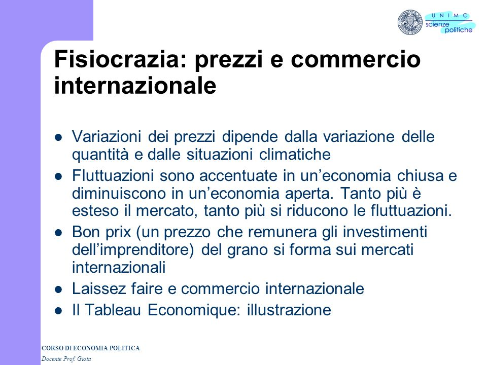 Fisiocrazia: prezzi e commercio internazionale