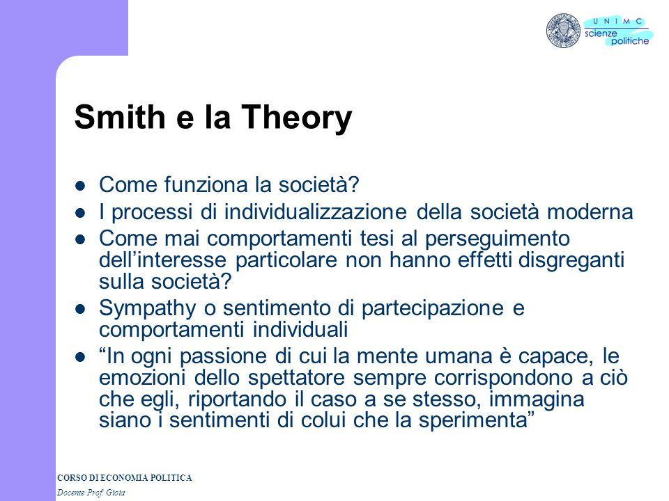 Smith e la Theory Come funziona la società