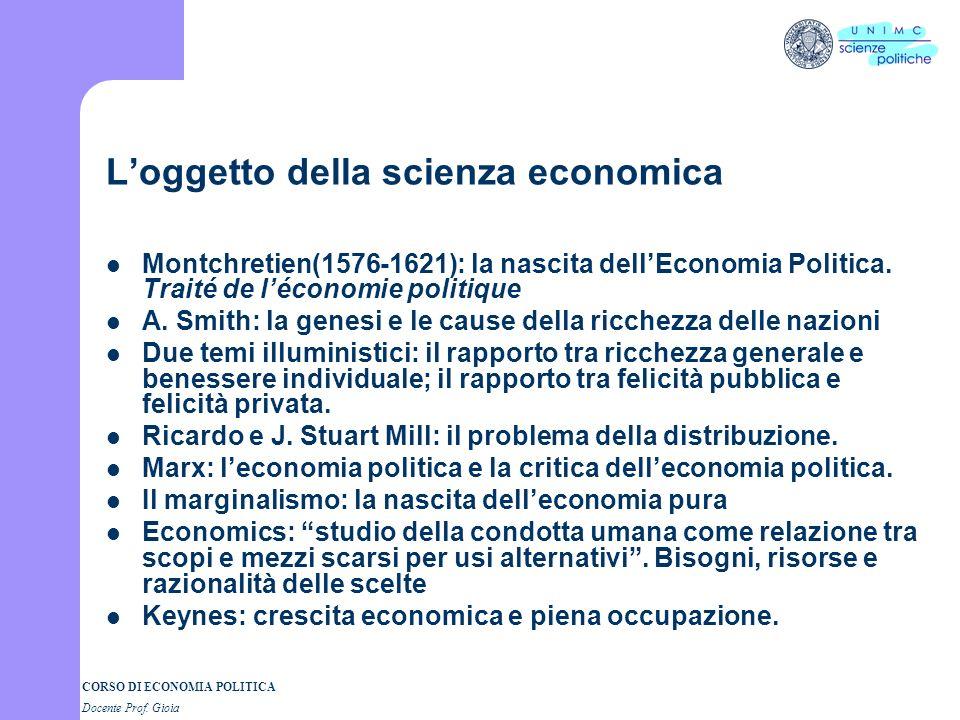 L'oggetto della scienza economica