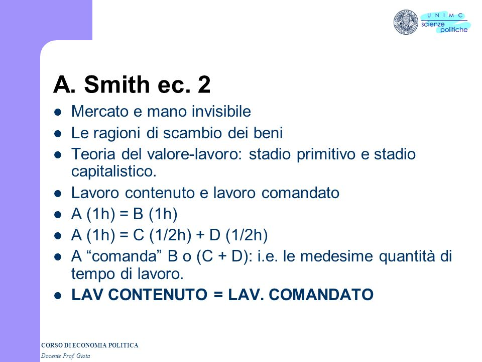 A. Smith ec. 2 Mercato e mano invisibile