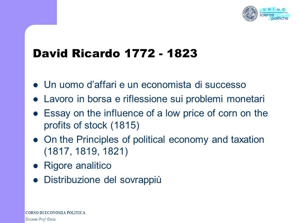 David Ricardo 1772 - 1823 Un uomo d'affari e un economista di successo