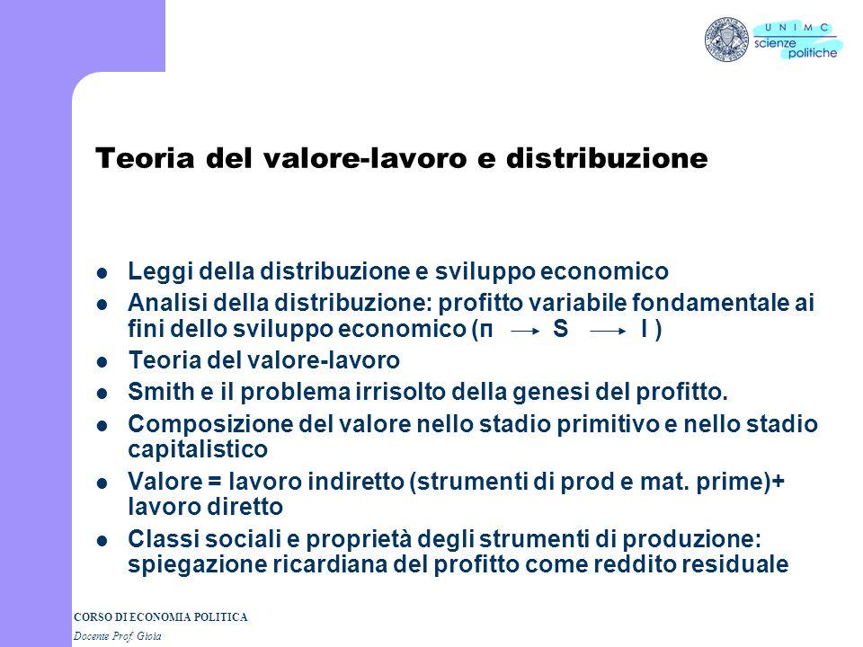 Teoria del valore-lavoro e distribuzione