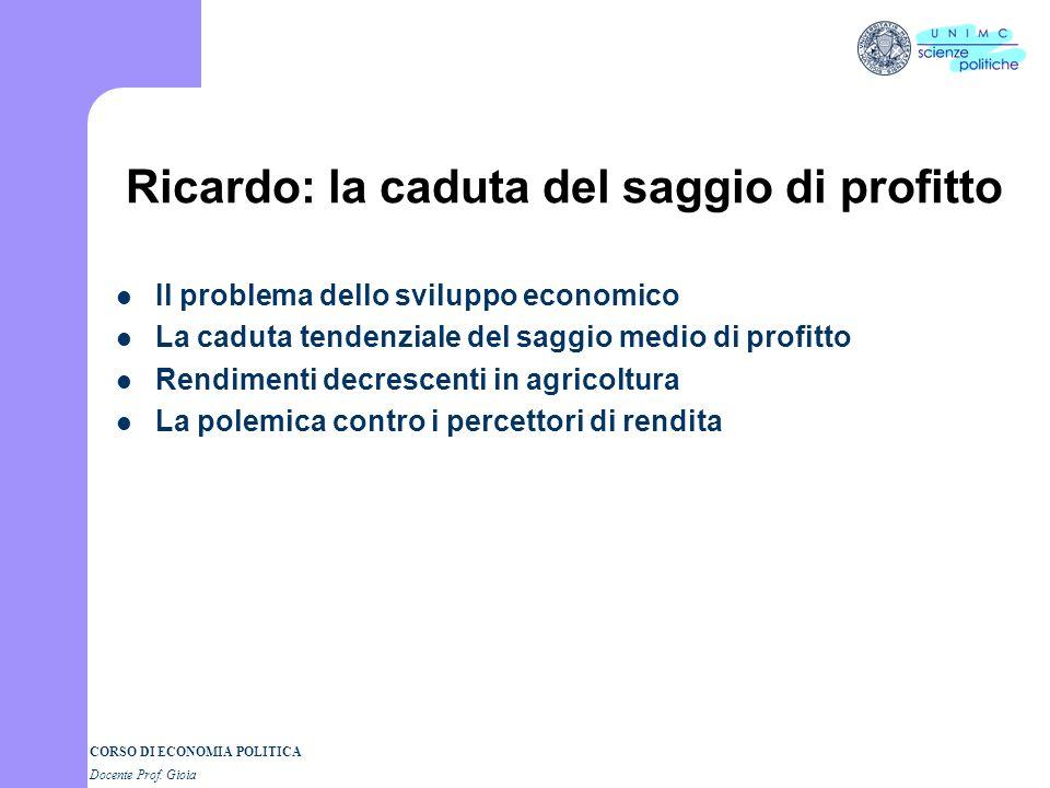 Ricardo: la caduta del saggio di profitto