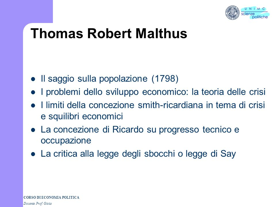 Thomas Robert Malthus Il saggio sulla popolazione (1798)