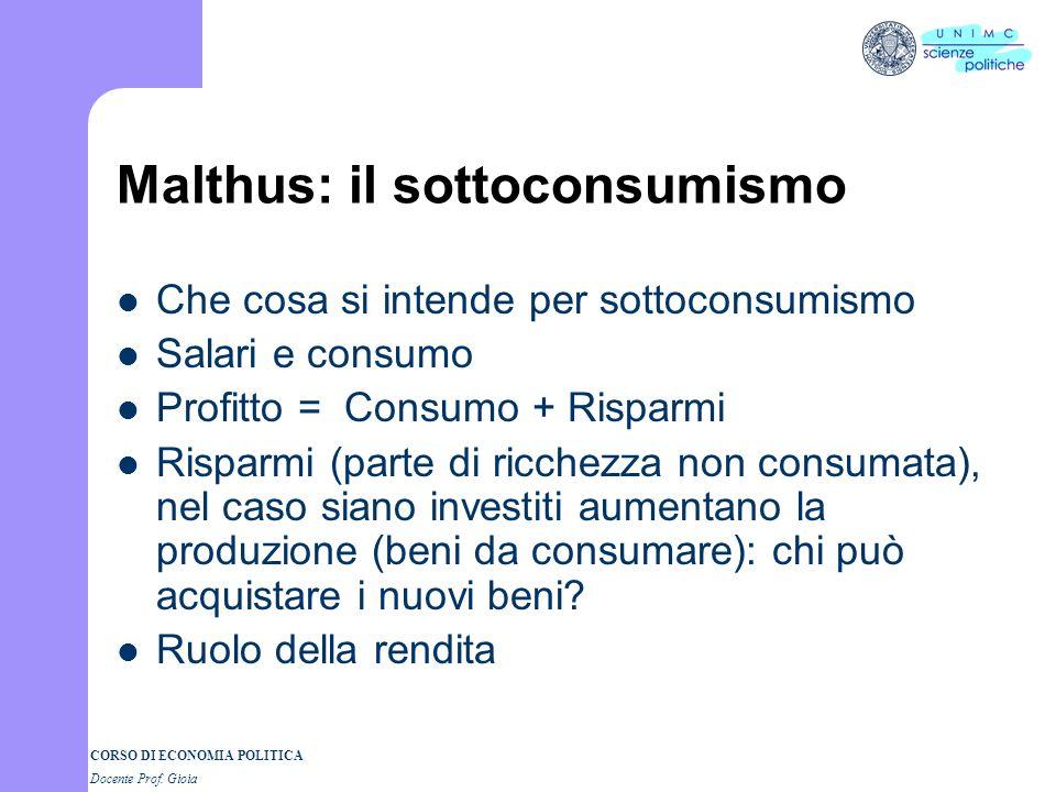 Malthus: il sottoconsumismo