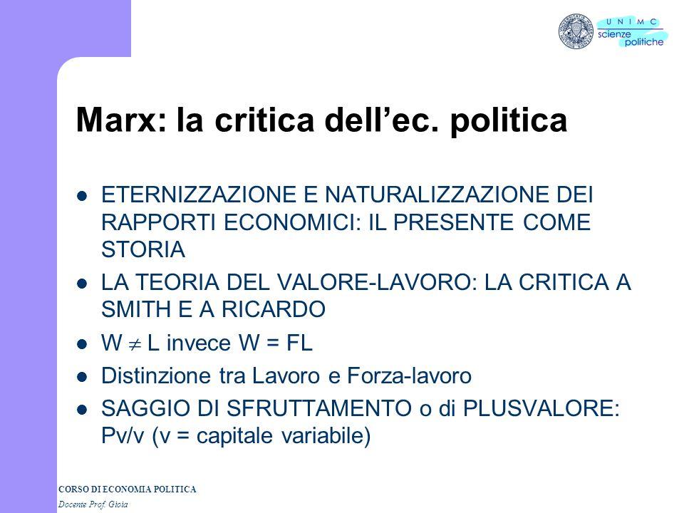 Marx: la critica dell'ec. politica
