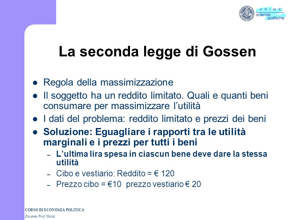 La seconda legge di Gossen