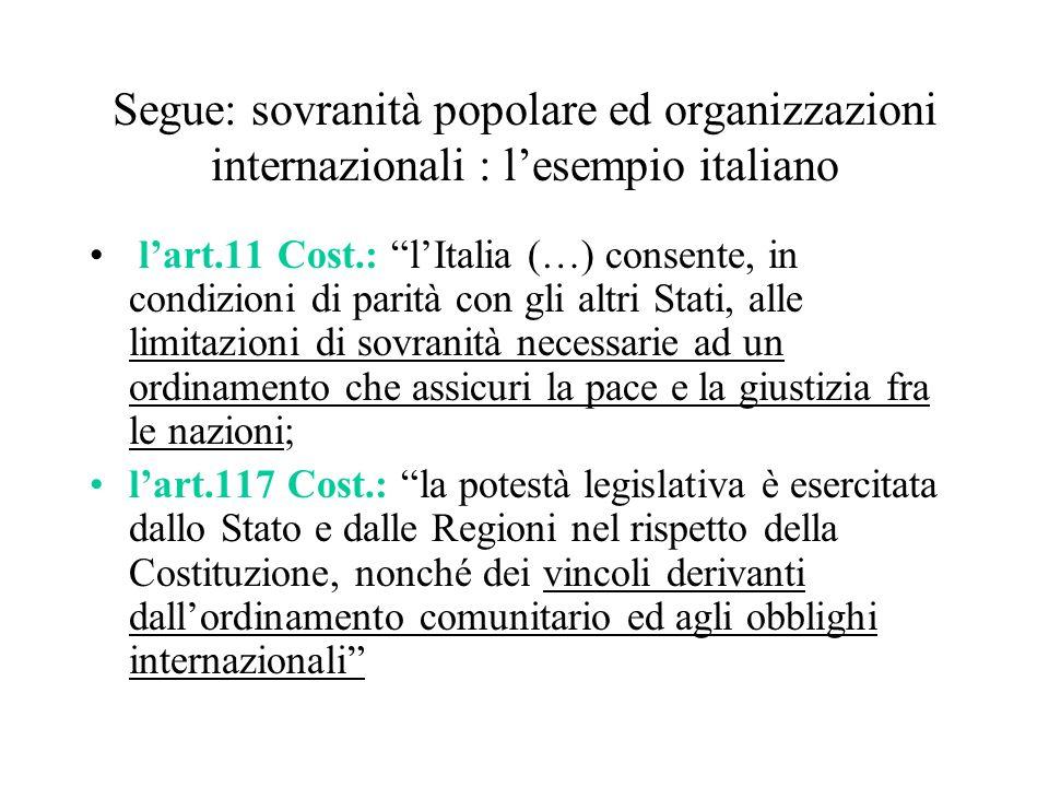 Segue: sovranità popolare ed organizzazioni internazionali : l'esempio italiano
