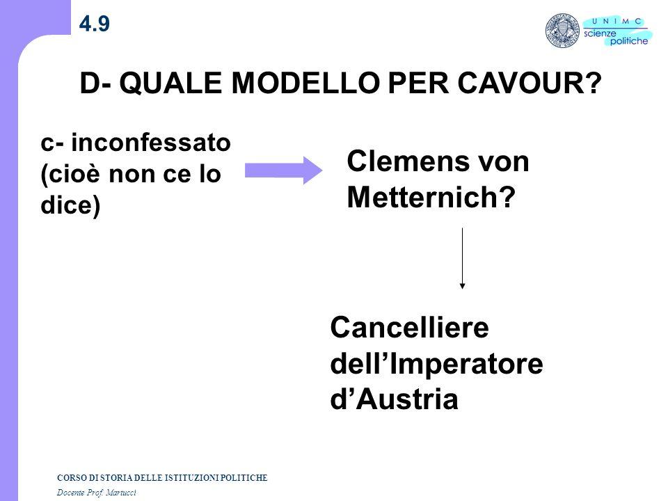 D- QUALE MODELLO PER CAVOUR