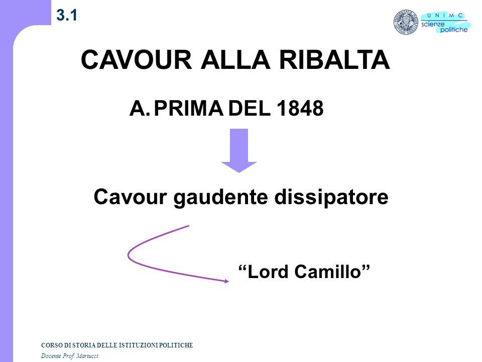 CAVOUR ALLA RIBALTA PRIMA DEL 1848 Cavour gaudente dissipatore