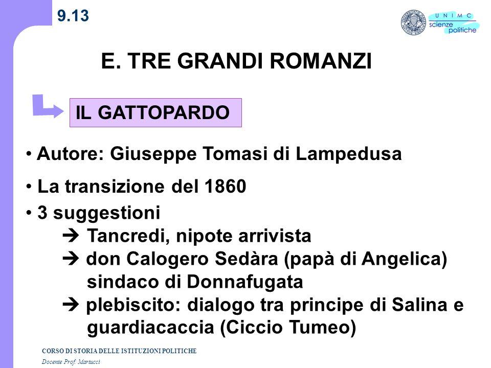 E. TRE GRANDI ROMANZI IL GATTOPARDO