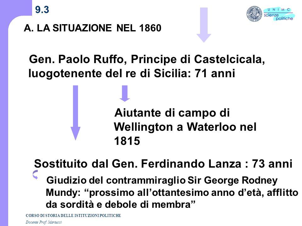 Sostituito dal Gen. Ferdinando Lanza : 73 anni