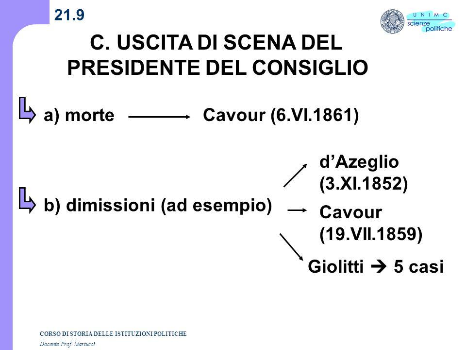 C. USCITA DI SCENA DEL PRESIDENTE DEL CONSIGLIO