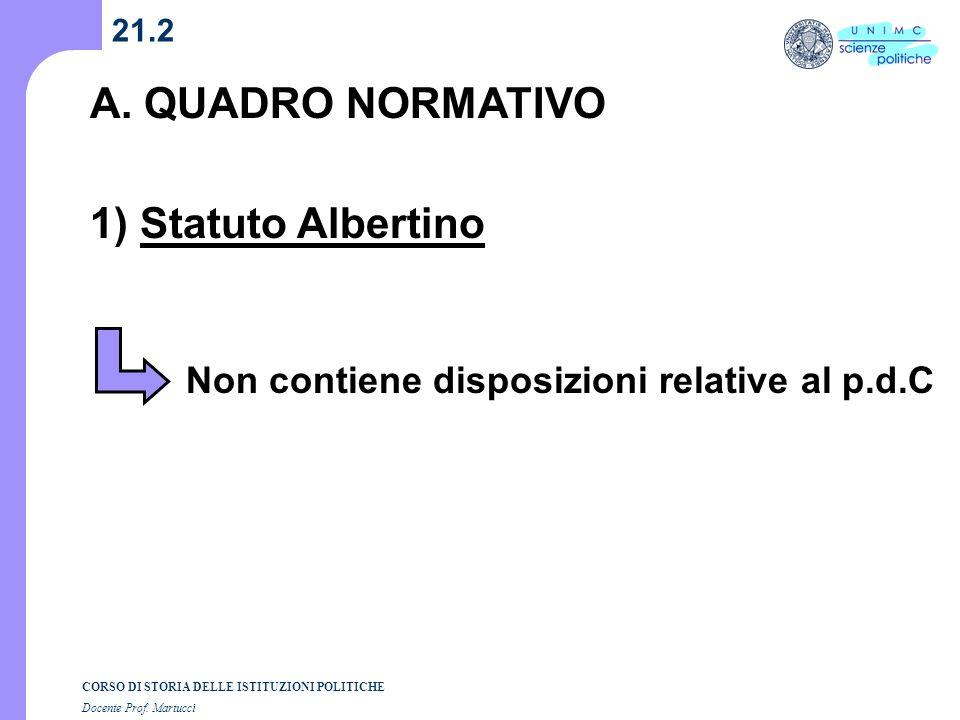 A. QUADRO NORMATIVO 1) Statuto Albertino