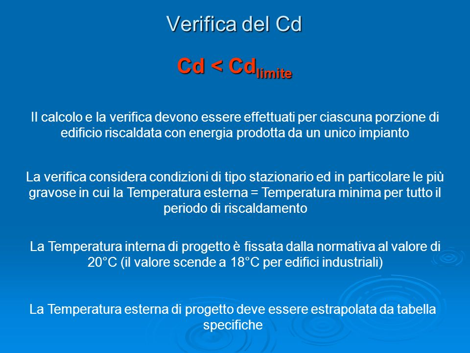 Verifica del Cd Cd < Cdlimite