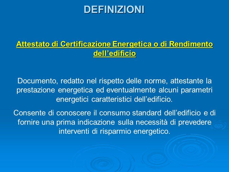 Attestato di Certificazione Energetica o di Rendimento dell'edificio