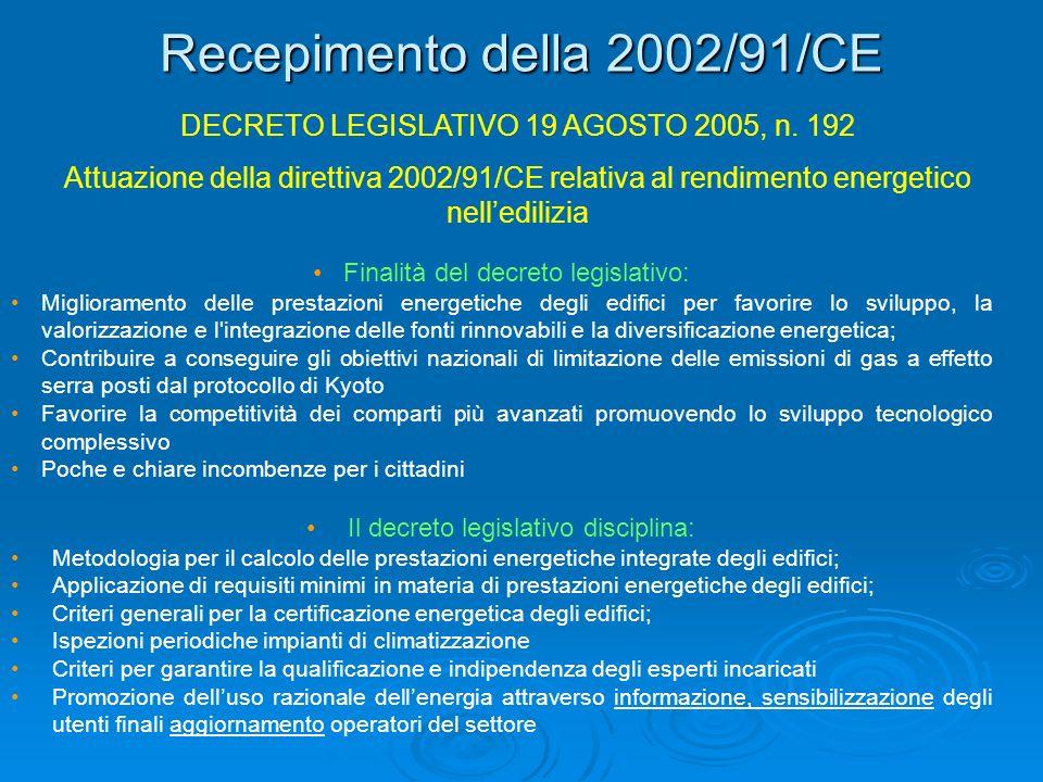Recepimento della 2002/91/CE
