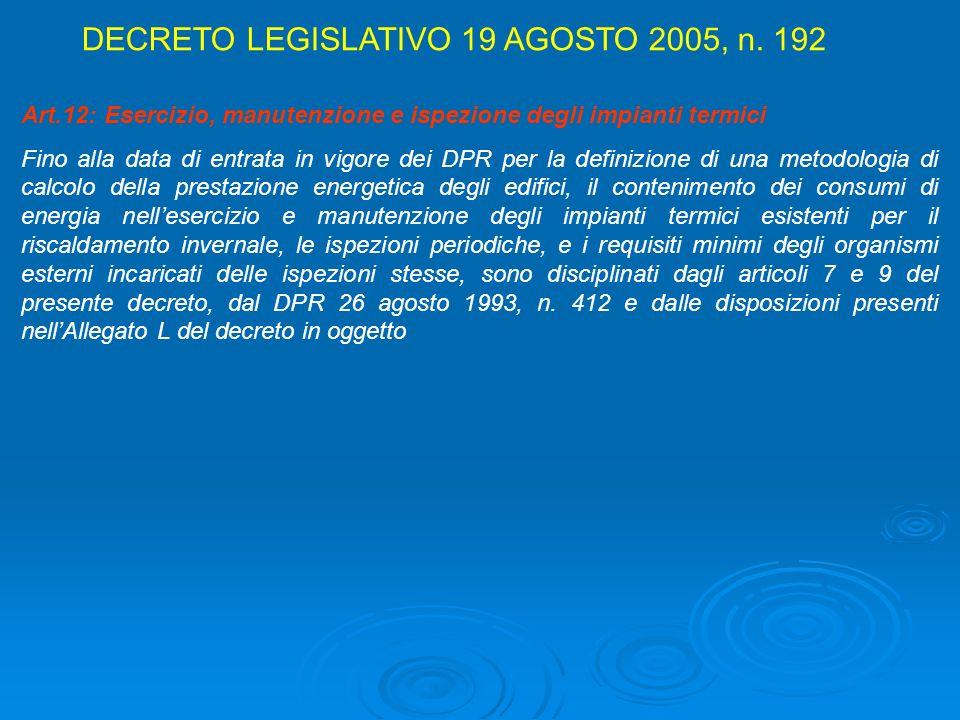 DECRETO LEGISLATIVO 19 AGOSTO 2005, n. 192