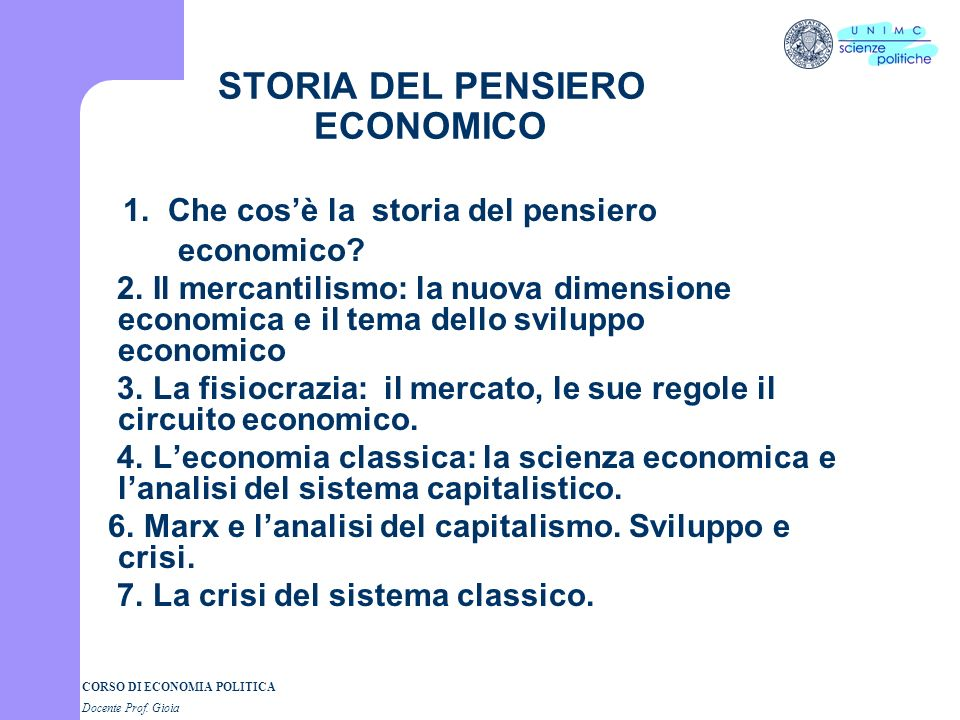 STORIA DEL PENSIERO ECONOMICO