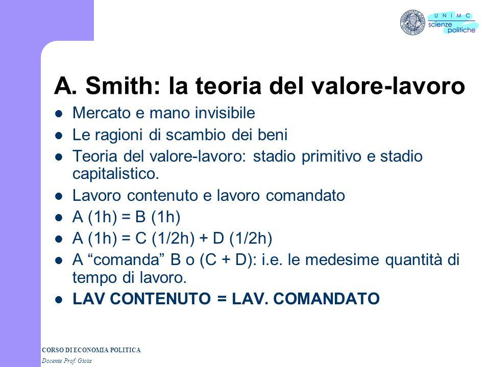 A. Smith: la teoria del valore-lavoro