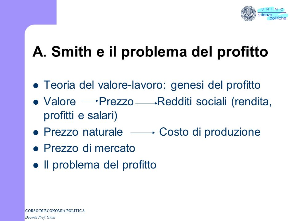 A. Smith e il problema del profitto