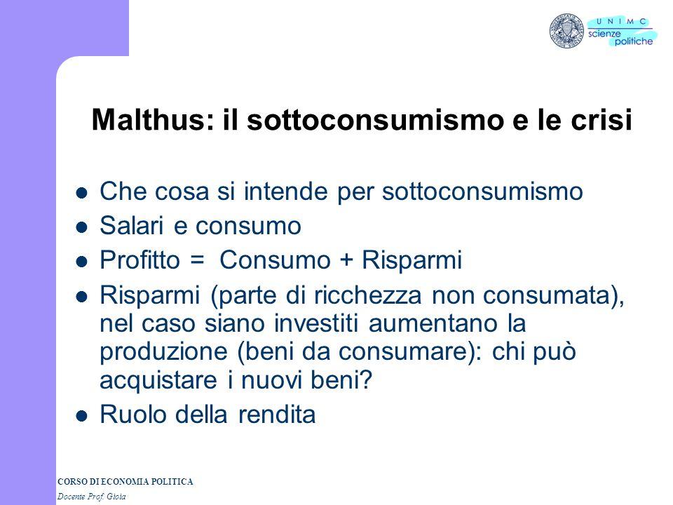Malthus: il sottoconsumismo e le crisi