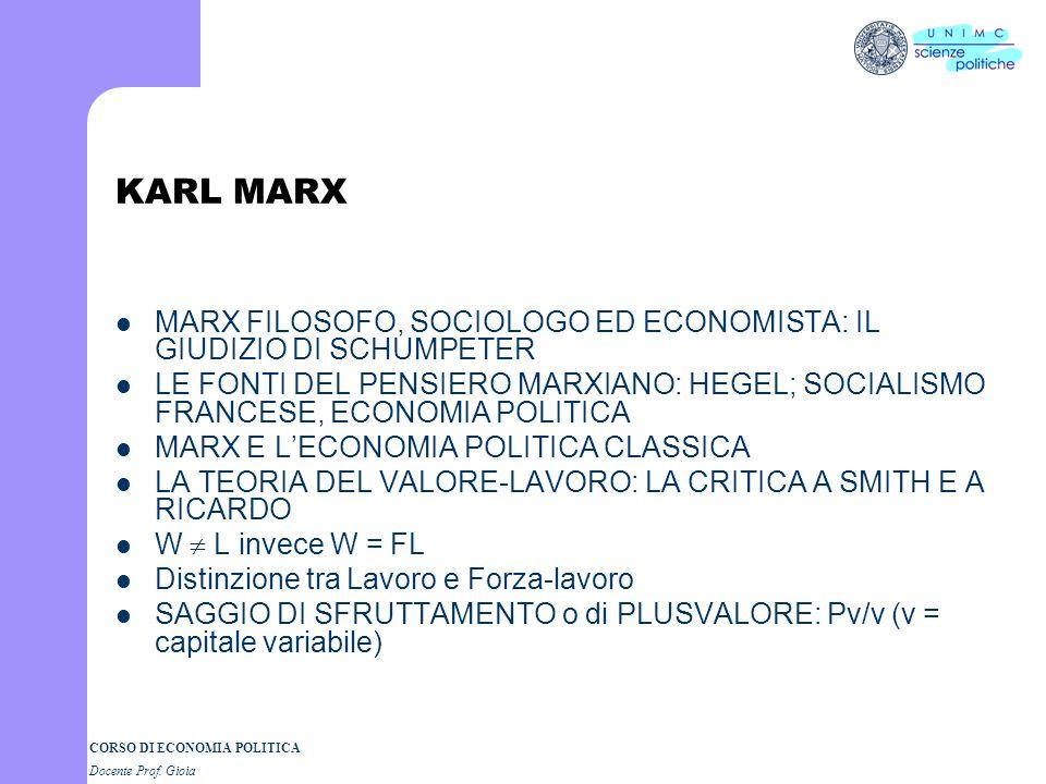 KARL MARX MARX FILOSOFO, SOCIOLOGO ED ECONOMISTA: IL GIUDIZIO DI SCHUMPETER.