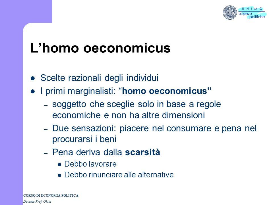 L'homo oeconomicus Scelte razionali degli individui