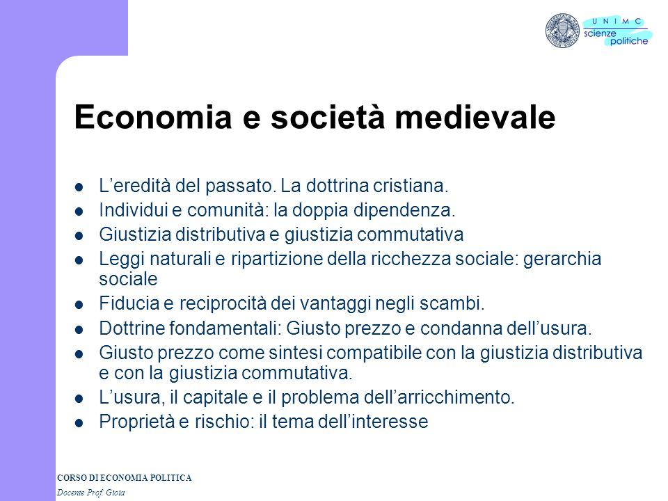 Economia e società medievale