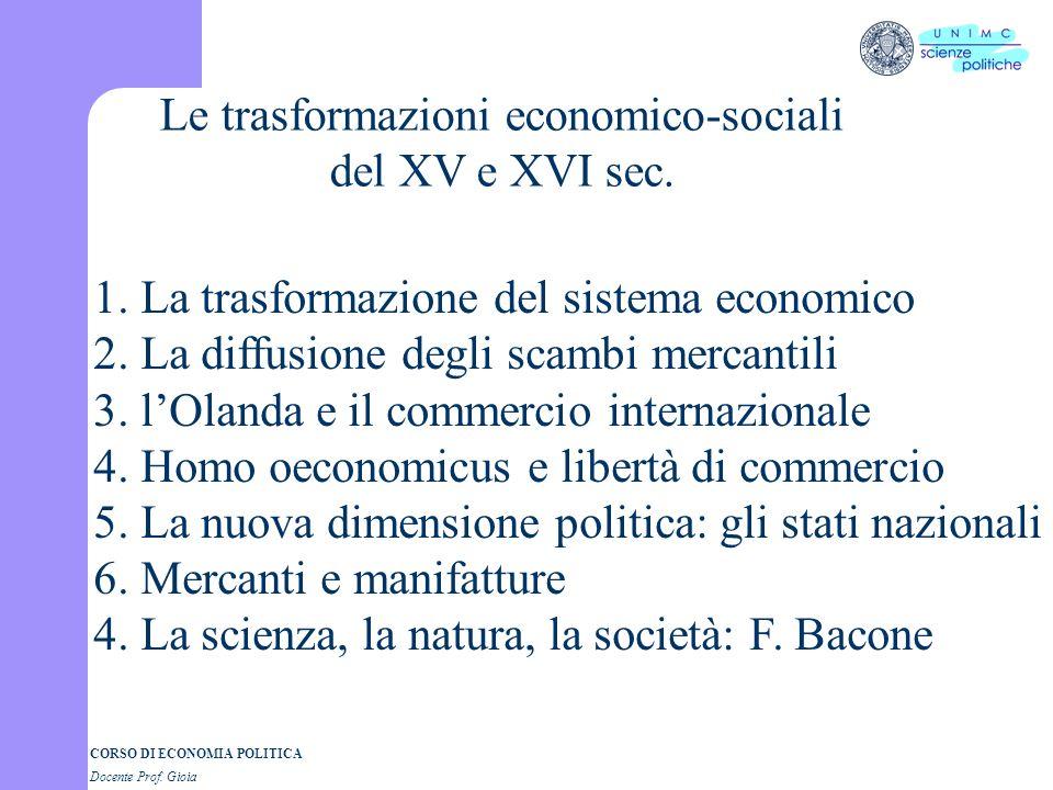 Le trasformazioni economico-sociali