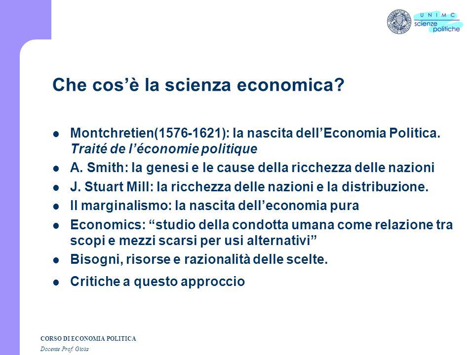 Che cos'è la scienza economica