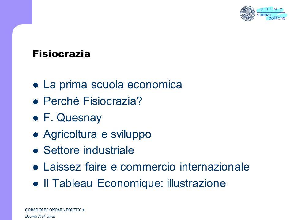 La prima scuola economica Perché Fisiocrazia F. Quesnay