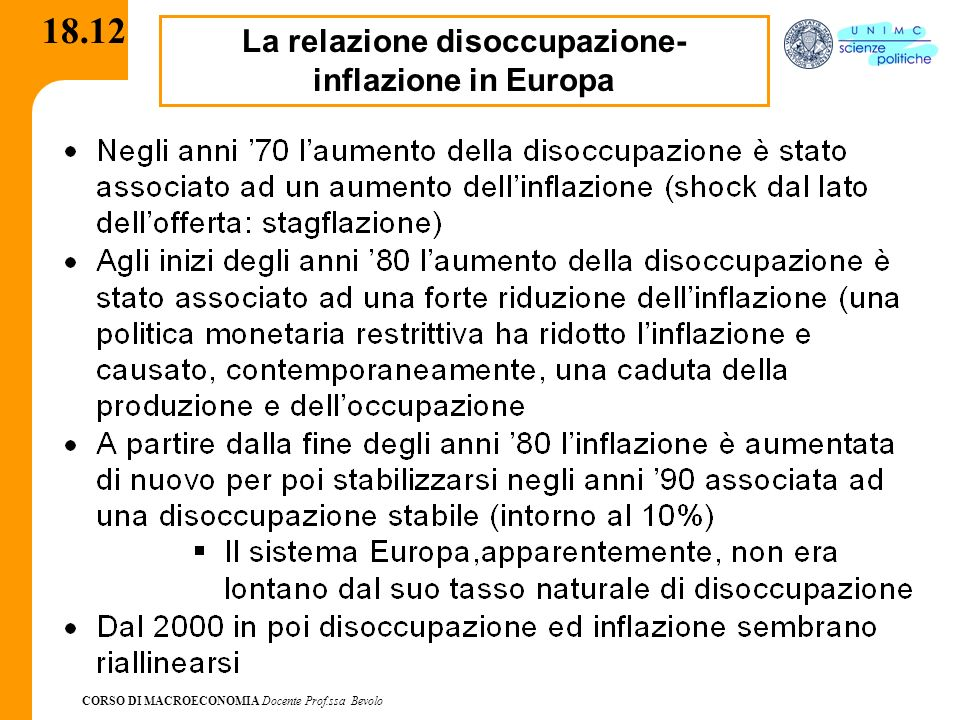 La relazione disoccupazione-inflazione in Europa